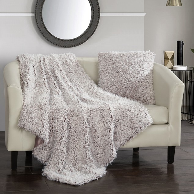 2 Piece Set Super Soft Shaggy Lion Faux Fur Micromink Throw with Pillow