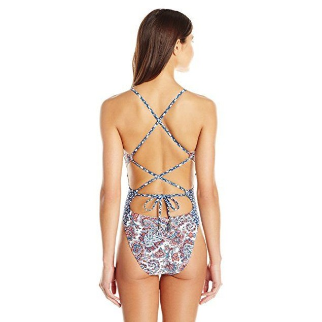 Lucky Brand Women's Hailey Paisley One Piece Swimsuit, Multi SIZE MEDI