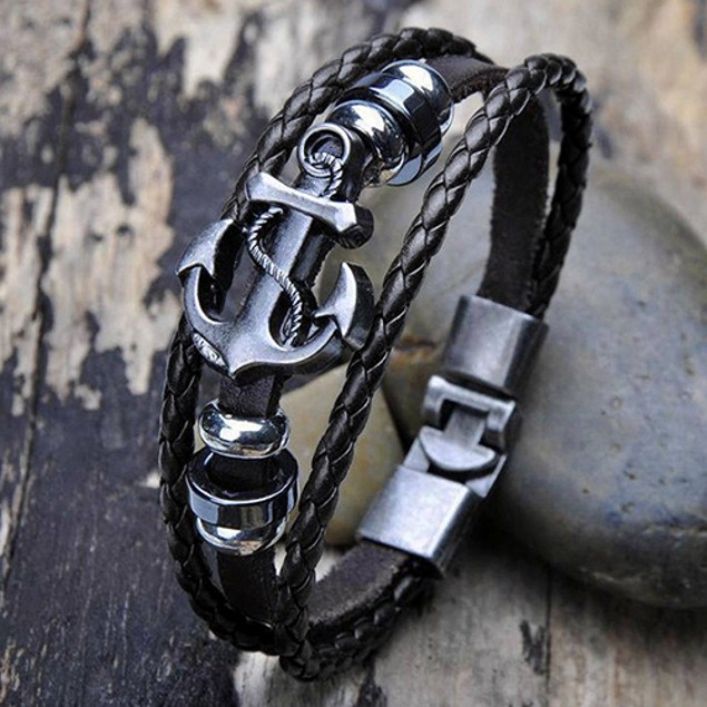 Men Vintage Metal Anchor Steel Surfer Bracelet