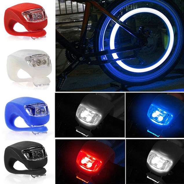1Pc LED 3 Modes Silicone Mountain Bicycle Front/Rear Clip-On Light Set