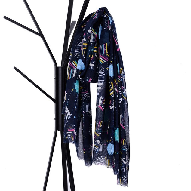 Women Sequin Leaves Print Women's Shawl Pashmina Stole Scarf Scarves