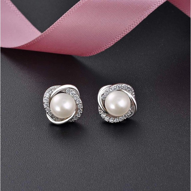 Pearl And Austrian Crystal Love Studs In Gold