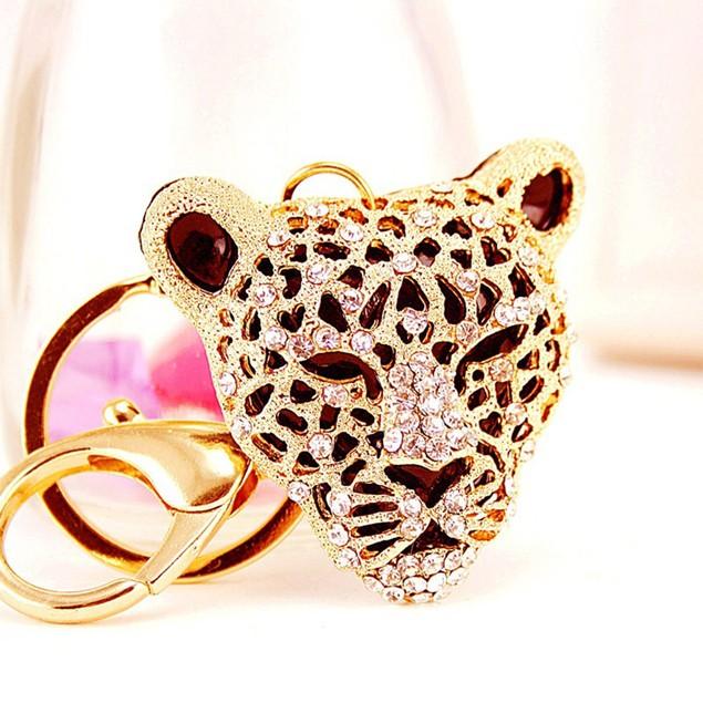 Leopard Head Animal Rhinestone Keychain Car Key Ring Holder Bag Charm