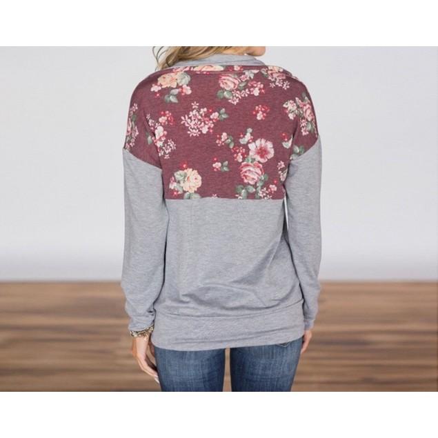 Long Sleeve Flower Print Zip Up Top