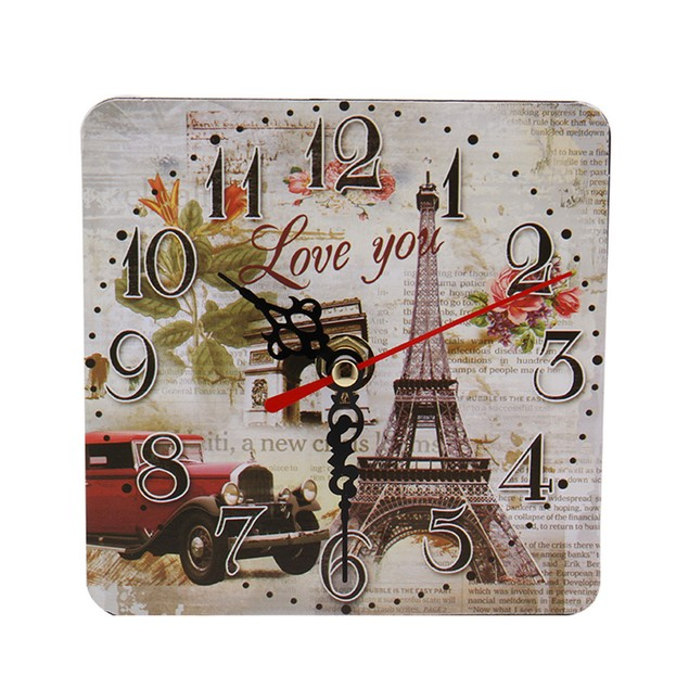 Vintage Style Non-Ticking Silent Antique Wood Wall Clock