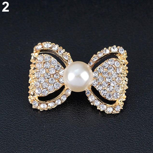 Lady Shiny Rhinestone Imitation Pearl Brooch