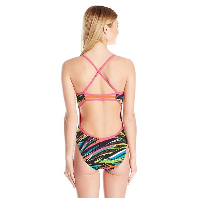 TYR Women's Ravana Trinity Fit Swimsuit, 004 Black/Multicolor, SIZE 38