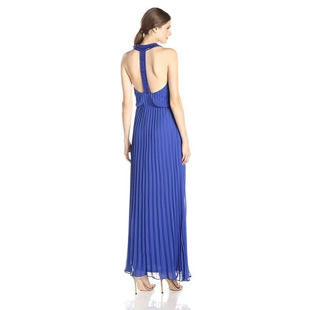 Jessica Simpson Women's Halter Embellished Neck and Back Gown, Blue, 1