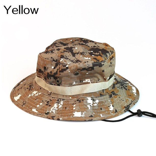Unisex Wide Brim Camouflage Fishing Bucket Boonie Sun Hat
