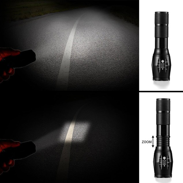 5000LM T6 LED Zoomable Flashlight Waterproof Torch Light Lamp 18650