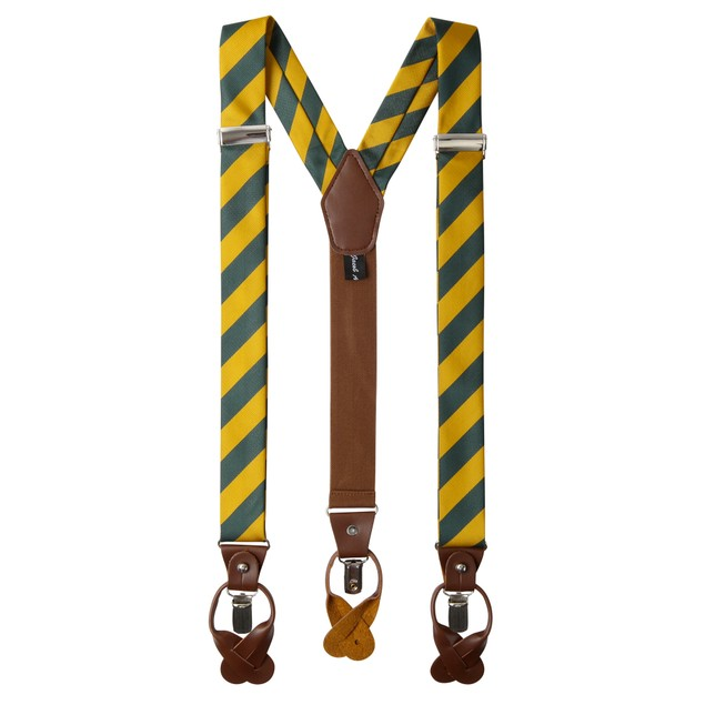 Jacob Alexander Mens Stripe Suspenders Convertible Leather Ends Clips