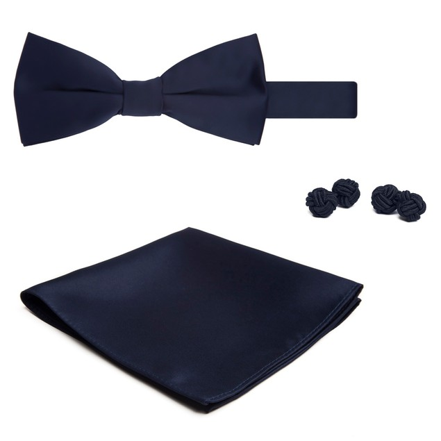 Jacob Alexander Solid Color Men's Bowtie Hanky and Cufflink Set