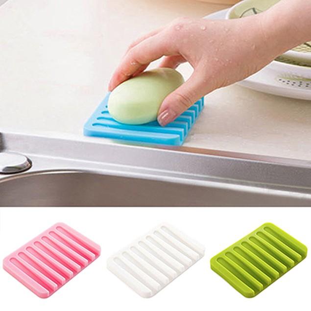 Bathroom Silicone Soap Dish Storage Holder Soapbox Plate Tray Drain