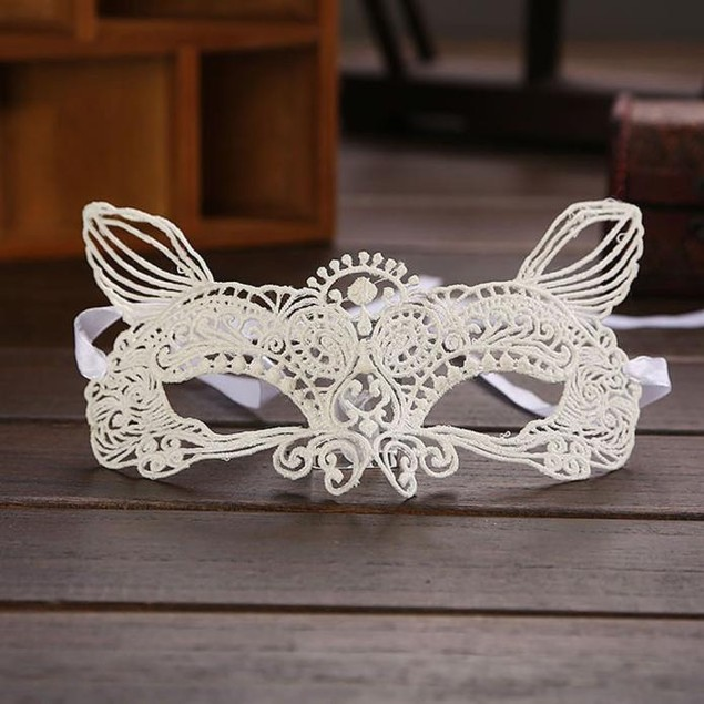 Halloween Masquerade Sexy Lady Black White Lace Mask hollow out Catwoman