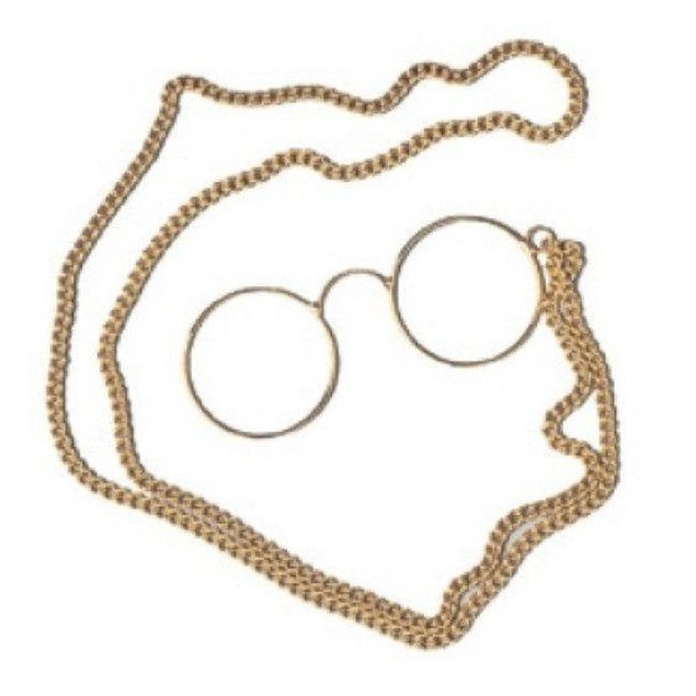 Pinz Nez Specs Glasses Costume Spectacles Pince Gold 1900's Party Accessory