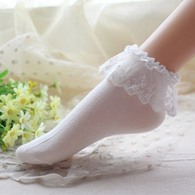 Women Lace Ruffle Frilly Ankle Princess Pure Color Short Socks