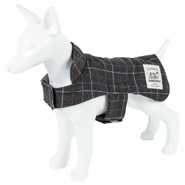 Touchdog 2-In-1 Windowpane Plaid Dog Jacket With Matching Reversible Mat