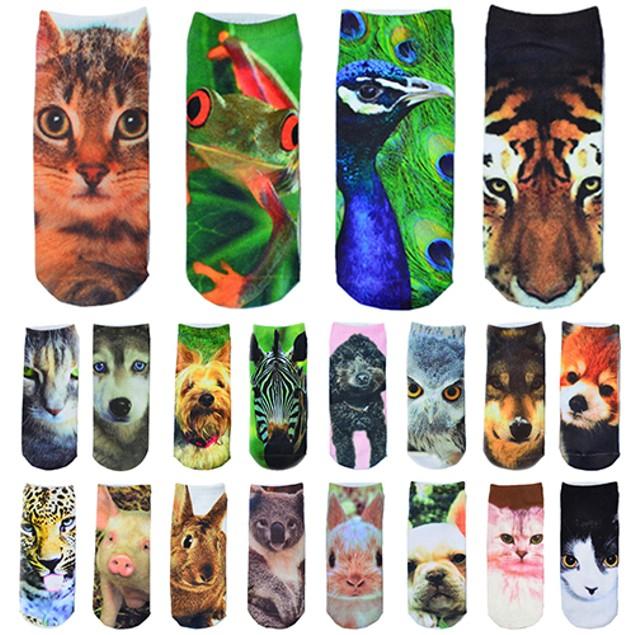 1 Pair Men Women Low Cut Ankle Socks Cotton 3D Printed Animals