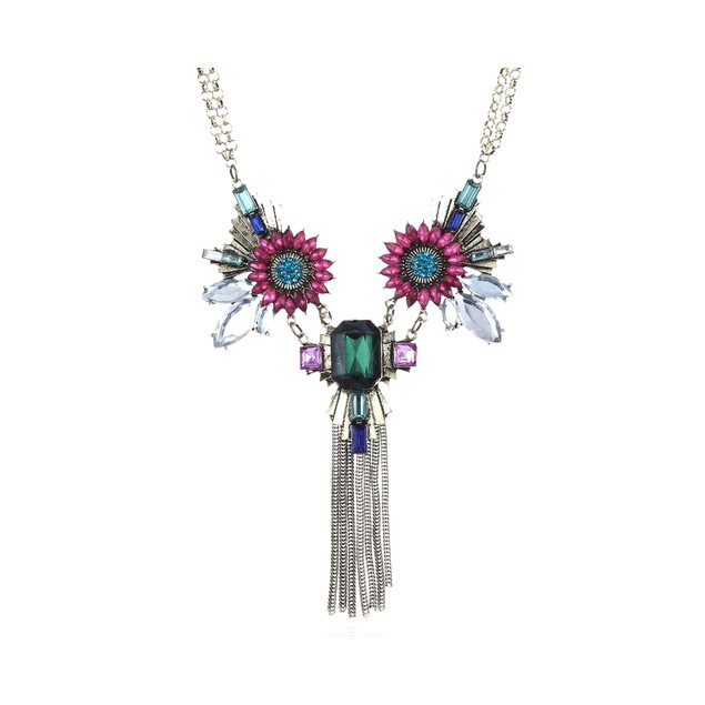 Novadab Fuisica Emerald Windflower Tassel Statement Necklace