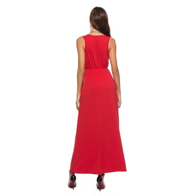 Solid Sleeveless Maxi Dress