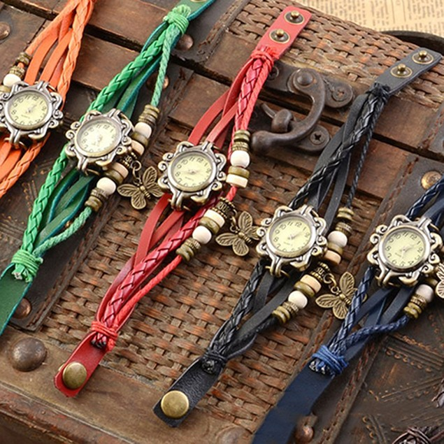 Vintage Multilayer Butterfly Faux Leather Bracelet Wrist Watch