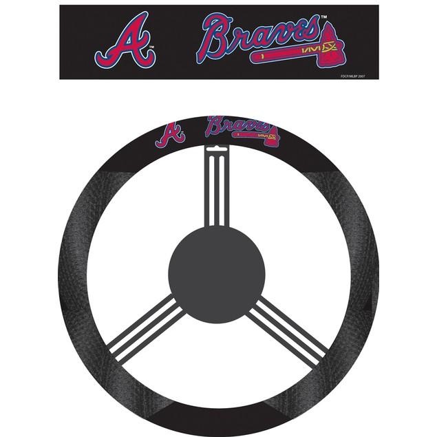 Atlanta Braves Steering Wheel Cover MLB Baseball Team Logo Poly Mesh