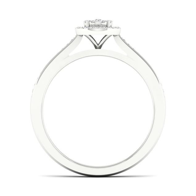De Couer S925 Sterling Silver 1/5ct TDW Diamond Halo Bridal Set (I-J, I2)