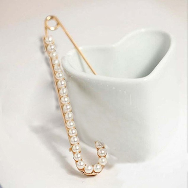 1Pc Fashion Faux Pearl Rhinestone Brooch