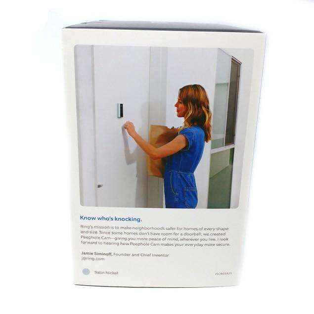 RING Peephole Cam Smart video doorbell HD video 2-way talk - Satin Nickel