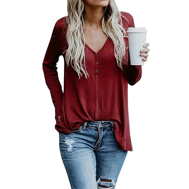 Women V-Neck Long Sleeve Sweatshirt Pullover Tops Blouse Shirt
