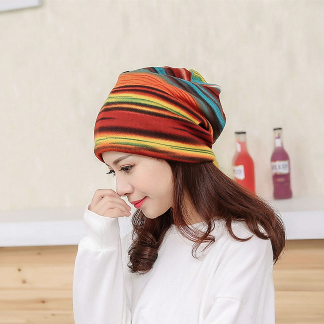 ... Women Hat Ruffle Cancer Hat Beanie Scarf Collar Turban Head Wrap Cap 7  ... 671dbd66b125