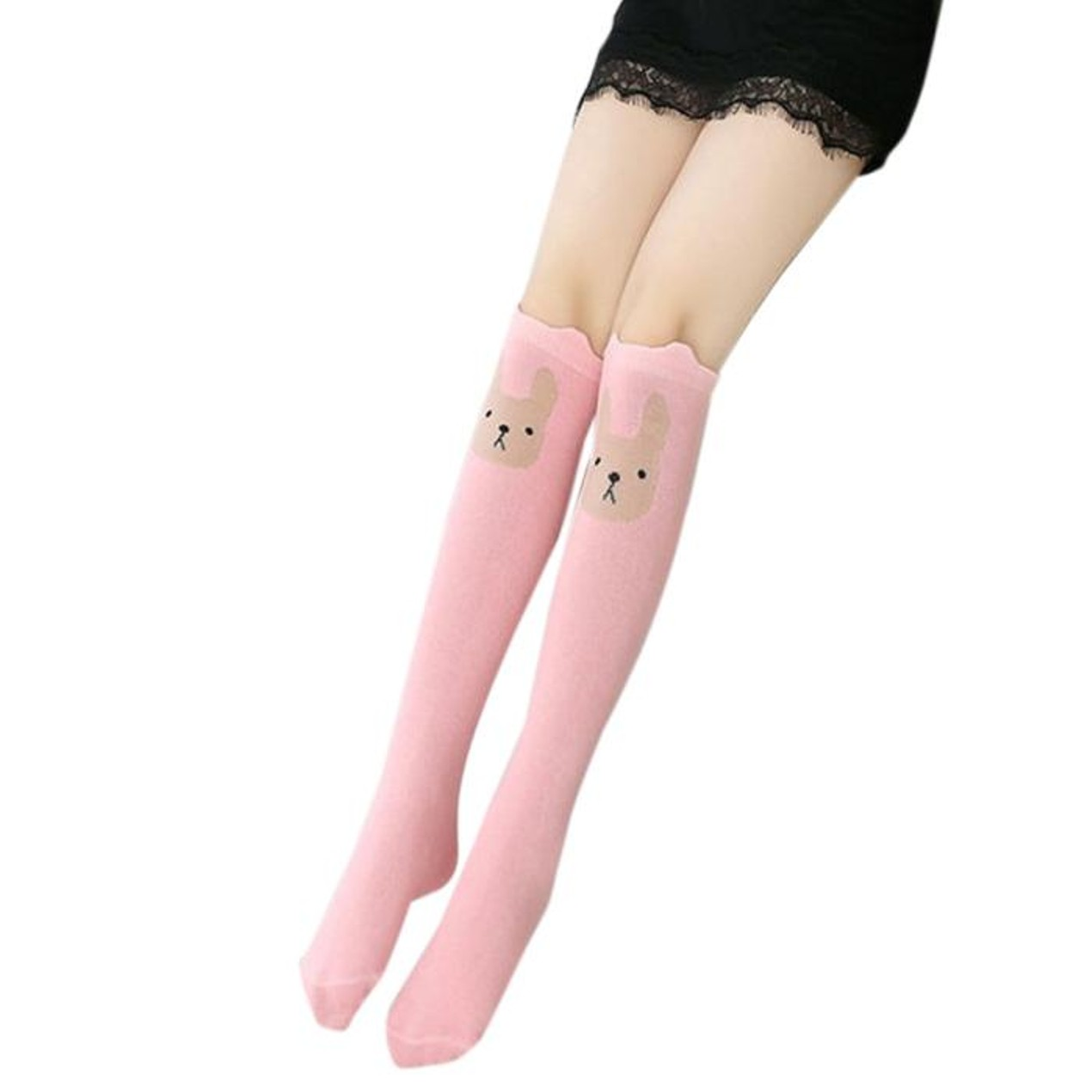 9dc9839ba ... Children Kids Girl Animal Rabbit Pattern Print Knee High Socks Cute  Socks ...
