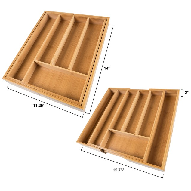 Bamboo Expandable Utensil Drawer Organizer