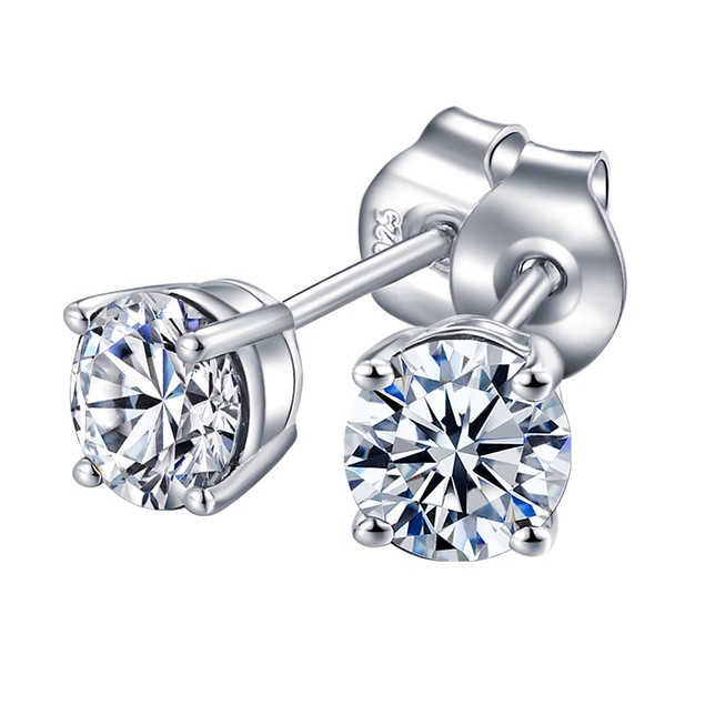 925 Sterling Silver 6mm 3 CTW Round  Cubic Zircon Stud Earring