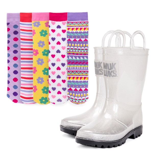 MUK LUKS® Girl's Clear Molly Rainboots with 5-Pk Socks