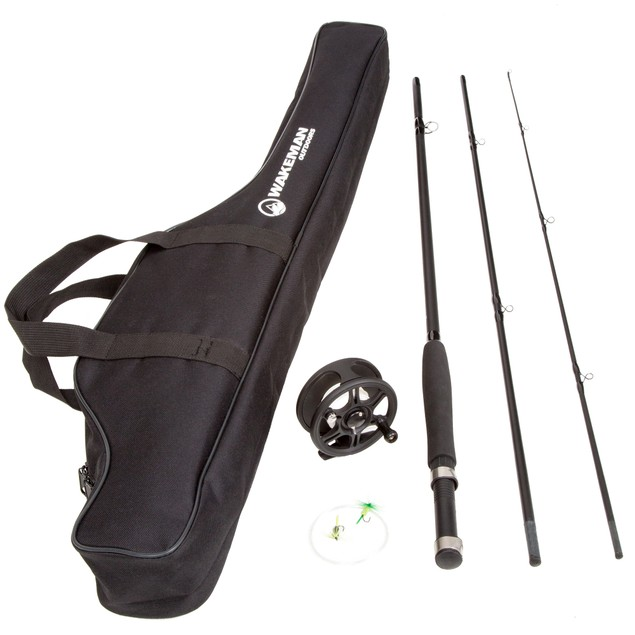 Wakeman Charter Series Fly Fishing Combo with Carry Bag - Black