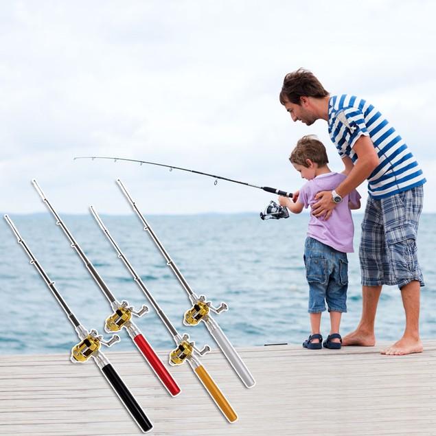 Telescopic Mini Portable  Aluminum Alloy Fishing Rod Pole + Reel