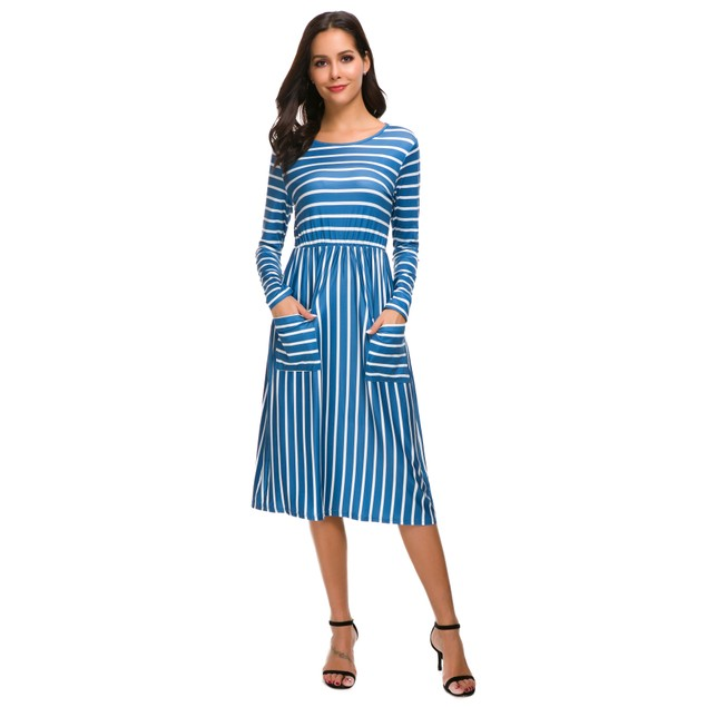 Long Sleeve Striped Front Pocket Dress - 3 Colors