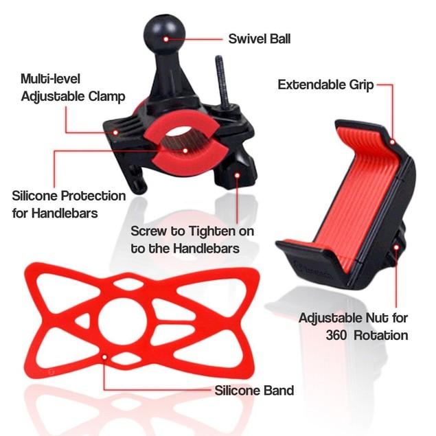 "Zone Tech Bike Motorcycle Cell Phone Mount Adjustabl iPod Holder 3.7"""