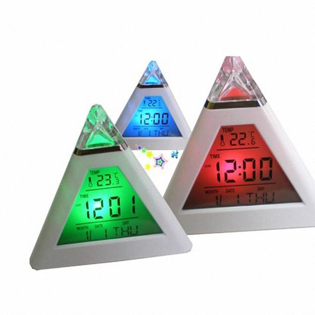 LED Multi-Function Pyramind Alarm Clock