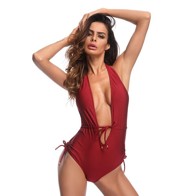 Open Front Tie Swimsuit