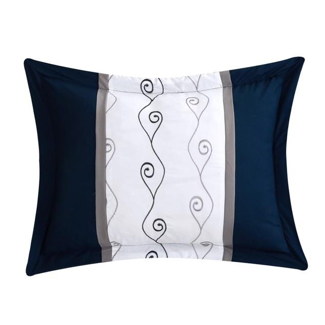 Chic Home 6 Piece Armando Color Block Embroidered Bedding Comforter Set
