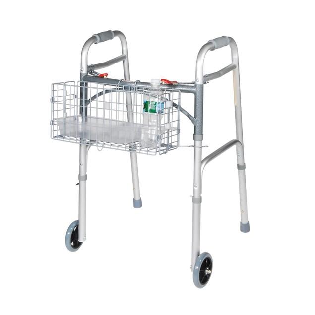 Drive Medical Folding Walker Basket W/ Plastic Insert Tray & Cup Holder,