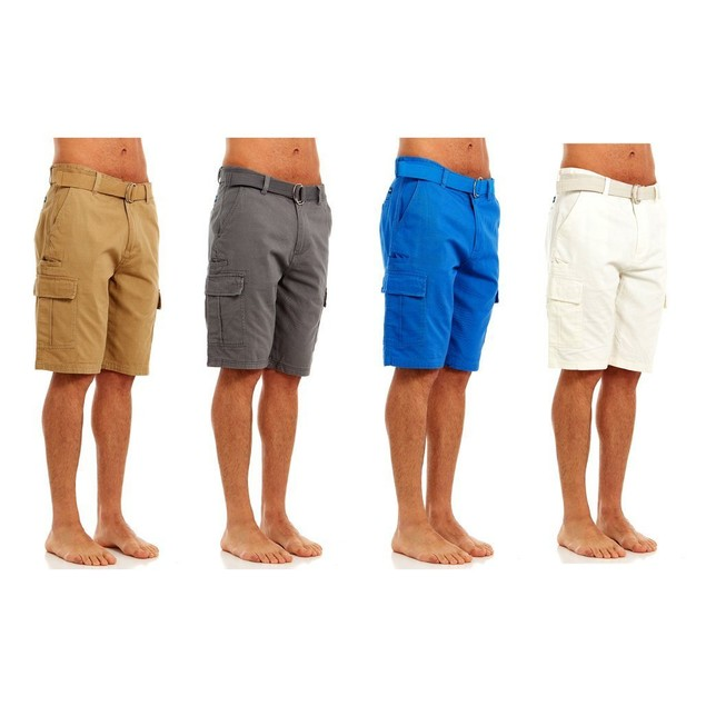 Heavy Duty Men's Belted Twill Cargo Pocket Shorts