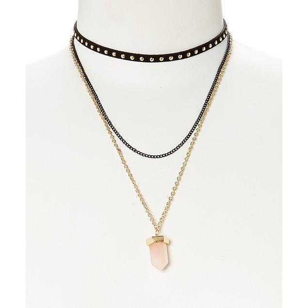 Quartz Pendant Choker Layering Necklace