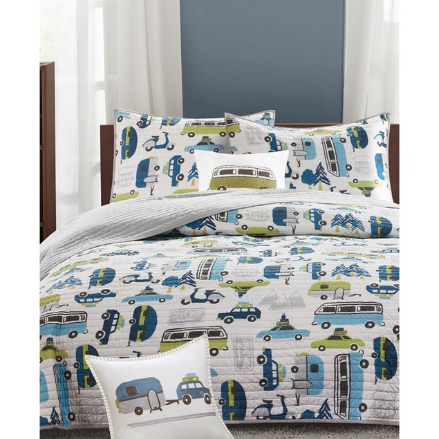 INK+IVY Kids Road Trip Reversible 3 Pc Quilted Coverlet Bedding Set, Twin,