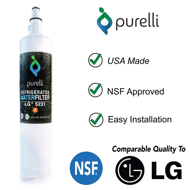 Purelli Refrigerator Water Filter, Compatible w/ LG & Kenmore, White