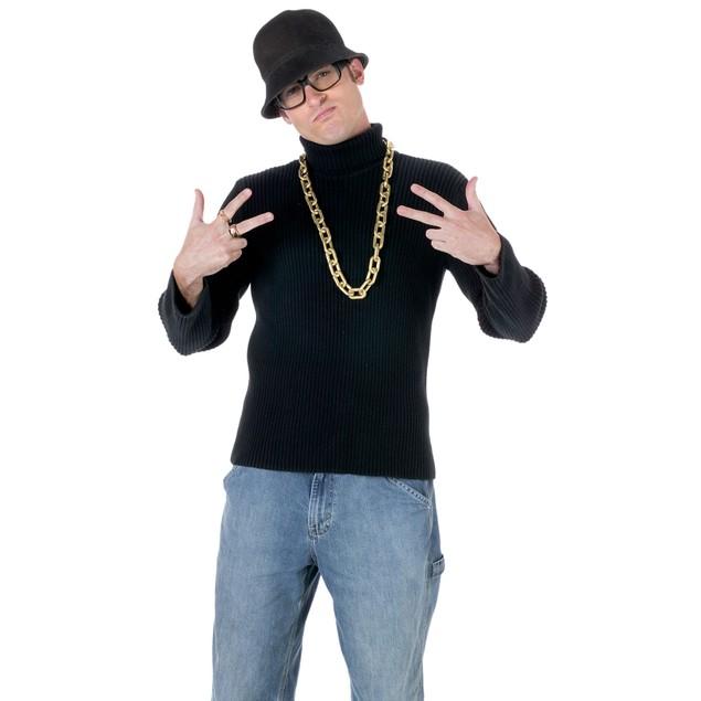 Old School Rapper Costume Kit Run DMC Hat Glasses Necklace Ring Hip Hop Rap