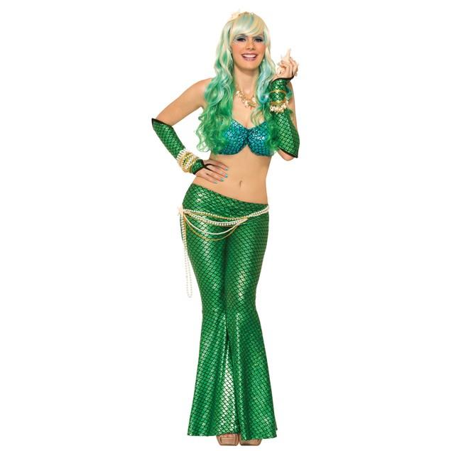 Green Mermaid Tail Leggings Flare Bell Bottoms Little Fish Costume Adult