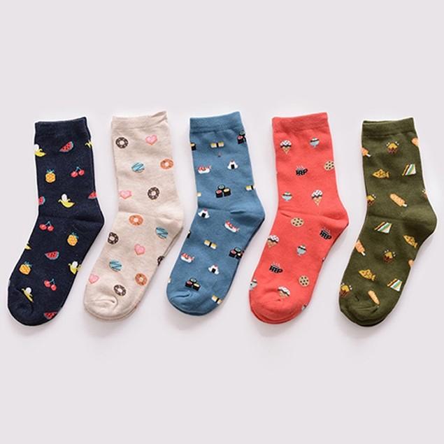 Unisex Fashion Cartoon Food Sushi Fruit Pattern  Cotton Socks